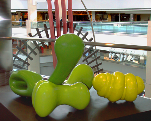 01 Splats 06-07 – Bulba, Bone and Bent Needle, Ferro-concrete/enamel paint.  9' x 9' x 3'.  Terminal A, Denver Int'l Airport, Denver, CO, 2006-7